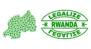 大麻留下拼贴画卢旺达地图与合法化难看的东西邮票封印 向量例证
