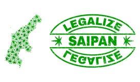 大麻留下拼贴画塞班地图与合法化难看的东西邮票封印 库存例证