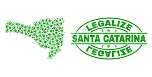 大麻留下拼贴画圣塔卡得里那状态地图与合法化难看的东西邮票封印 向量例证