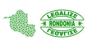 大麻留下拼贴画朗多尼亚地图与合法化难看的东西邮票封印的状态 向量例证