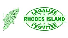 大麻留下拼贴画罗得岛海岛地图与合法化难看的东西邮票封印 库存例证