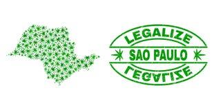 大麻留下马赛克圣保罗状态地图与合法化难看的东西邮票封印 皇族释放例证