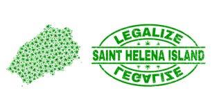 大麻留下马赛克圣海伦娜岛地图与合法化难看的东西邮票封印 皇族释放例证