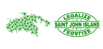 大麻留下马赛克圣约翰海岛地图与合法化难看的东西邮票封印 向量例证