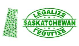 大麻留下马赛克萨斯喀彻温省省地图与合法化难看的东西邮票封印 向量例证