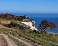 多弗白色峭壁在肯特,英国,英国 库存照片