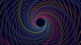 多彩多姿的弯曲的线转动的五颜六色的相称漏斗  库存例证