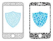 多角形第2个滤网智能手机盾和马赛克象 向量例证