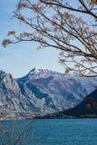 多雪的山峰Lovcen的看法在黑山 免版税库存照片