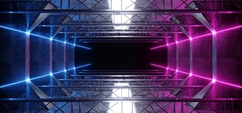 外籍人科学幻想小说氖带领了在未来派现代建筑阶段隧道的激光充满活力的紫色桃红色蓝色发光的黑暗的灯光管制线 免版税库存照片
