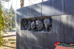 奥布宁斯克,俄罗斯- 2016年3月:对法西斯主义的集中营的囚犯的纪念碑1941-1945 库存照片