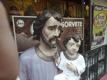 奥林达,伯南布哥,巴西- 2019年3月 上古购物女低音da S 雕塑由本机手动地做了 免版税图库摄影