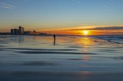 奥斯坦德海滩沉思,比利时 免版税库存照片