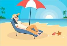 女孩休息在海滩 艺术例证 皇族释放例证