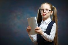 女小学生穿戴玻璃一致的看看笔记本 库存照片