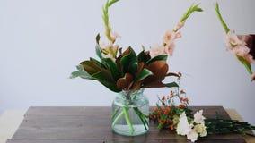 女性卖花人在一个玻璃花瓶和做投入花新的植物布置 采摘从箱子的妇女鲜花 影视素材