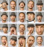 套年轻人用不同的情感和姿态的` s画象 图库摄影