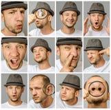 套年轻人用不同的情感和姿态的` s画象 免版税库存照片