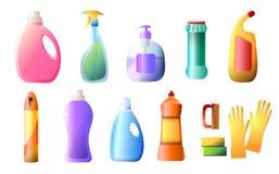 套洗涤剂瓶,容器,清洁物品,洗衣粉,在白色背景隔绝的浪花平的象 向量例证
