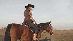 妇女在域的骑乘马 户外棕色马的年轻女牛仔 股票视频
