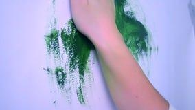 妇女污迹画白色表面上的绿色油漆 股票录像