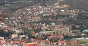 姆茨赫塔乔治亚 在秋天天期间,古镇和Samtavro修道院顶视图  正统Samtavro的变貌 影视素材