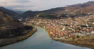 姆茨赫塔,乔治亚 古镇顶视图位于河Mtkvari库纳河和Aragvi的合流谷  股票录像