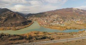 姆茨赫塔,乔治亚 古镇顶视图位于河Mtkvari库纳河和Aragvi的合流谷  影视素材