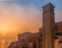 威尼斯,威尼托地区的资本,联合国科教文组织世界遗产名录站点,东北意大利横跨一个小组118位于了小 免版税库存照片