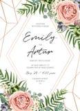 婚姻花卉邀请请帖卡片设计 淡紫色桃红色庭院上升了,绿色热带棕榈叶,多汁植物,绿叶 皇族释放例证
