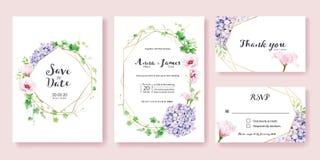 婚礼邀请,保存日期,谢谢, rsvp卡片设计模板 绿叶常春藤,桃红色Lisianthus,八仙花属花 库存例证