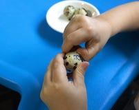 婴孩和鹌鹑蛋 免版税库存图片