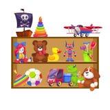 孩子玩具架子 平展玩具孩子商店木架子玩偶熊婴孩比赛飞机五颜六色的金字塔钢琴吵闹声汽车兔子鸭子 向量例证
