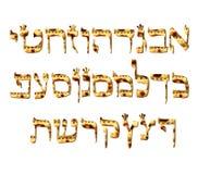 字母表西伯来逾越节matzah 西伯来信件Pesach 书法字体 犹太复活节 纹理未发酵的面包 向量 库存例证