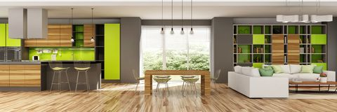 客厅和一个厨房现代房子内部米黄和绿色的 免版税库存照片
