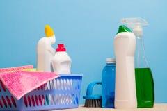 家庭消毒作用清洁产品背景 免版税库存图片