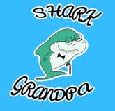 家庭鲨鱼 与藤茎和蝶形领结的祖父鲨鱼 与海洋动物镜片的逗人喜爱的动画片绿色字符  衣裳的印刷品 皇族释放例证