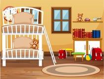 宿舍卧室内部 向量例证