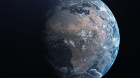 对行星地球的旅行 地球从外层空间放大 4K 皇族释放例证