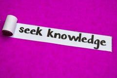 寻求知识文本,启发、刺激和企业概念在紫色被撕毁的纸 免版税库存照片