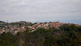 小山的一小镇与有红色屋顶的低议院 股票视频