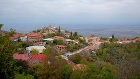 小山的俏丽的小的镇与有红色屋顶的低议院 股票视频