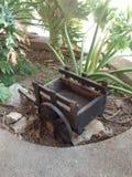 小木载体在有理想的装饰植物的庭院里户外的 免版税库存照片