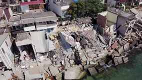 山崩的后果的鸟瞰图在市Chernomorsk,乌克兰 影视素材