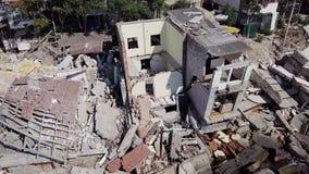 山崩的后果的鸟瞰图在市Chernomorsk,乌克兰 股票录像