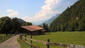 山的小屋在瑞士 库存照片