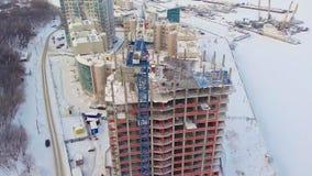 居民住房站点,冬天,鸟瞰图,直升机射击 影视素材