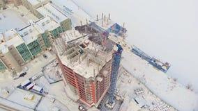 居民住房站点,冬天,鸟瞰图,直升机射击 股票录像