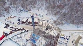 居民住房站点,冬天,鸟瞰图,直升机射击 股票视频