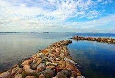 岩石在水城市剪影背景中 免版税库存图片